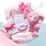 Pink Velour Baby Gift Basket for Girl - Personalized
