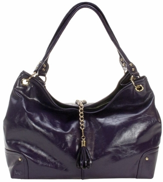 Plum Faux Patent Magnolia Baby Bag by Amy Michelle