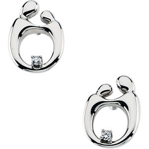 Polished Mother and Child Diamond Post Earrings