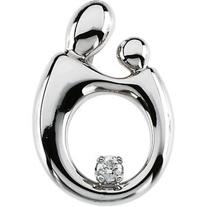 Polished Mother and Child Hollow-back Diamond Pendant