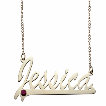 Polished Name and Birthstone Necklace 10k Gold