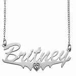Polished Name and Heart Birthstone Necklace 10k Gold