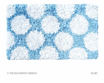 Polkamania Blue/White Shag Rug