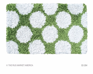 Polkamania Lime/White Shag Rug