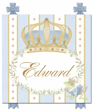 Posh Prince Crown French Blue Name Plaque Personalized by Dish and Spoon