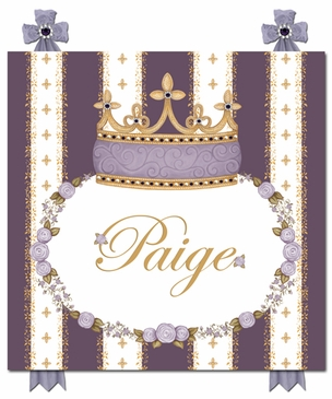 Posh Princess Crown Aubergine Dream Name Plaque Personalized by Dish and Spoon
