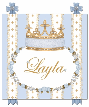 Posh Princess Crown French Blue Name Plaque Personalized by Dish and Spoon