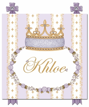 Posh Princess Crown Lovely Lavender Name Plaque Personalized by Dish and Spoon