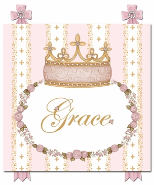 Posh Princess Crown Posey Pink Name Plaque Personalized by Dish and Spoon