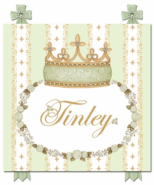 Posh Princess Crown Provence Green Name Plaque Personalized by Dish and Spoon