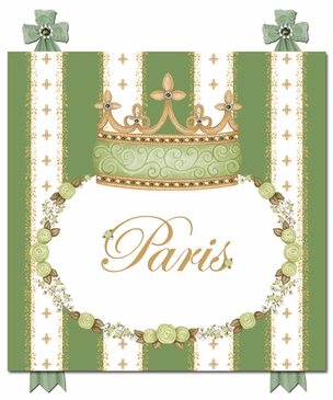 Posh Princess Crown Versailles Sage Name Plaque Personalized by Dish and Spoon