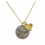 Puffy Gold Heart Charm Necklace