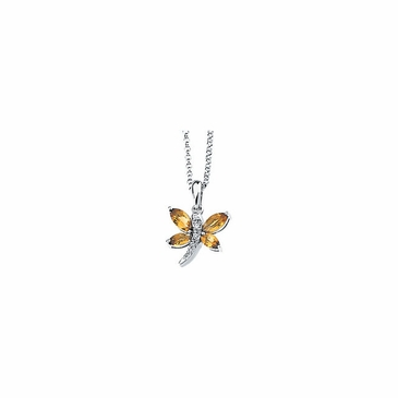 Radiant Citrine & Diamond Dragonfly Necklace