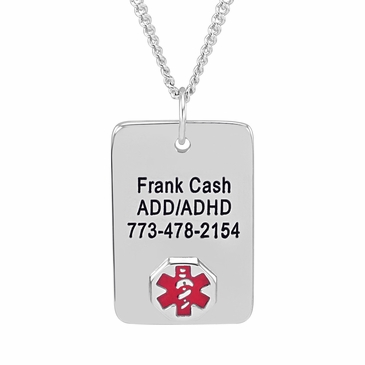 Rectangle Tag Medical Alert Necklace