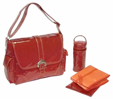 Red Corduroy - Laminated Buckle Diaper Bag by Kalencom