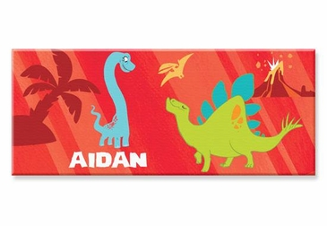 "Red Dinosaur Canvas Wall Art Personalized - 10"" x 24"""
