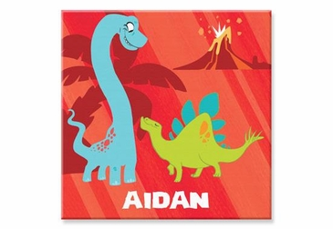 "Red Dinosaur Canvas Wall Art Personalized - 15"" x 15"""