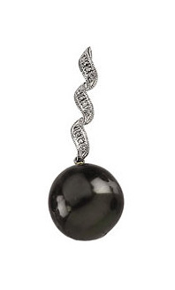 Refined Black Pearl and Diamond Pendant