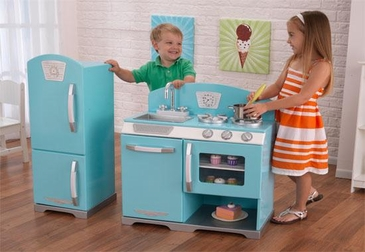 Retro Kitchen and Refrigerator - Blue