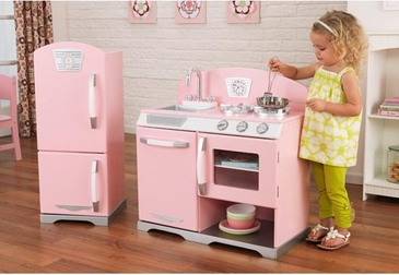 Retro Kitchen and Refrigerator - Pink