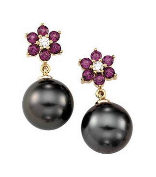 Rhodolite Garnet Earrings with Tahitian Cultured Pearl