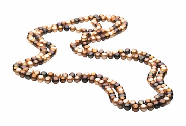 Rope Style 72 Inch Natural Dyed Chocolate Pearl Necklace