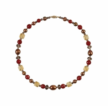 Round Gemstone and Chocolate Pearl Freshwater Necklace