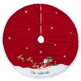 Santa on His Sleigh Christmas Tree Skirt