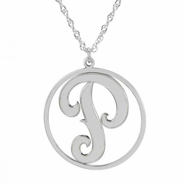 Script Initial Cutout Charm Necklace