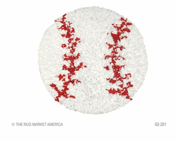 Shaggy Raggy Baseball White/Red Shag Rug