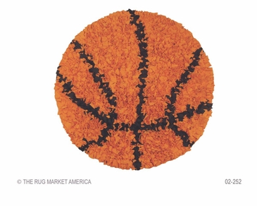 Shaggy Raggy Basketball Orange/Black Shag Rug