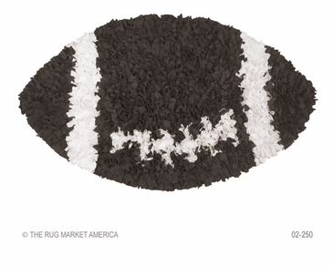 Shaggy Raggy Football Brown/White Shag Rug