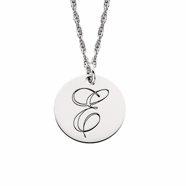 Shiny Initial or Monogram Disc Necklace