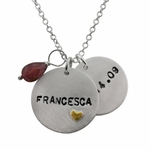 Silver Charm with Gold Heart Necklace