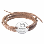 Silver Family Charm Leather Bracelet