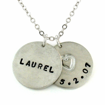 Silver Pendant Necklace - Personalized