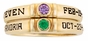 Simple Bezel Set Birthstone Engraved Gold Ring - with Simulated Stones - click to Enlarge