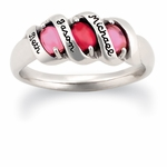 Sleek Ribbon Birthstone Personalized Gold Ring - with Simulated Stones