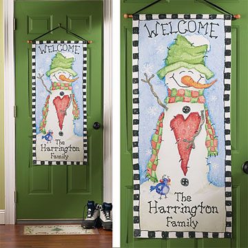 Snowman Welcome Door Canvas with Family Name