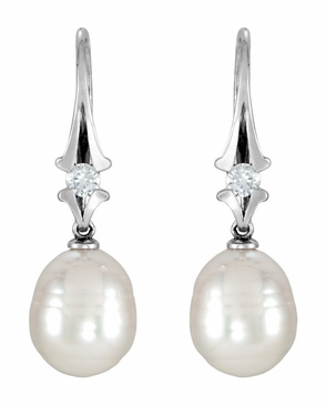 Snowy Pearl Drop and Diamond Earrings