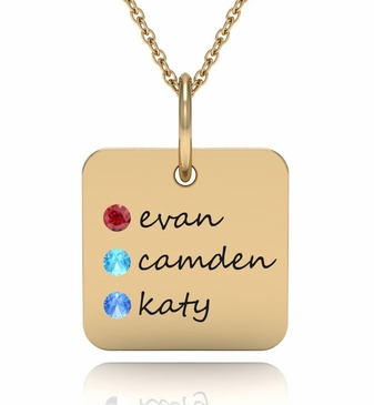 Solid Family Name Charm Necklace