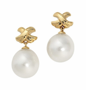South Sea Pearl Earings with Criss Cross Gold Pattern