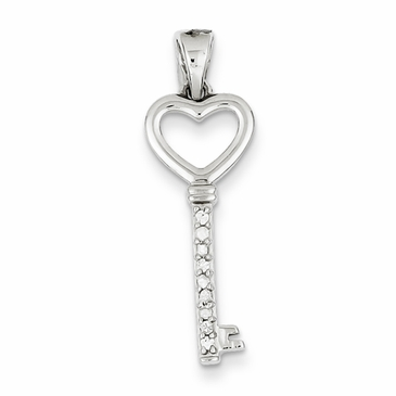 Sparkle Heart Key Pendant