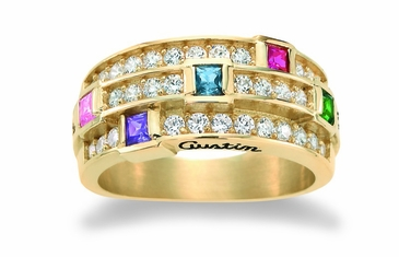 Stacked Birthstone Ring - with Genuine Stones