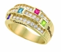 Stacked Birthstone Ring - with Simulated Stones - click to Enlarge