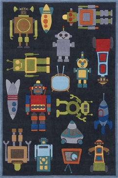 Steel Blue Whimsy Retro Robots Rug
