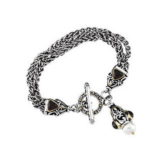 Sterling Silver and Mosambique Garnet stone Freshwater Pearl Bracelet