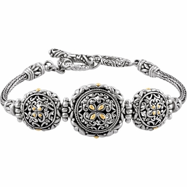 Sterling Silver Bracelet with 18K Gold Accents and Adjustable Toggle