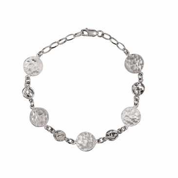 Sterling Silver Chain and Hammered Discs Fashion Bracelet