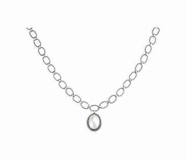 Sterling Silver Cultured Mabe Necklace with Pearl